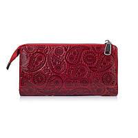 """Гарний шкіряний гаманець на блискавці червоного кольору, колекція """"Buta Art"""""""