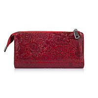 """Гарний шкіряний гаманець на блискавці червоного кольору, колекція """"Mehendi Art"""""""