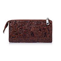 """Зручний шкіряний гаманець на блискавці коньячного кольору, колекція """"let's Go Travel"""""""