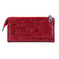 """Гарний шкіряний гаманець на блискавці червоного кольору, колекція """"let's Go Travel"""""""
