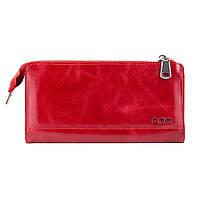 Гарний шкіряний гаманець на блискавці червоного кольору