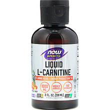 """L-карнітин в рідкій формі NOW Foods """"Sports Liquid L-Carnitine"""" смак тропічних фруктів, 1000 мг (59 мл)"""