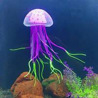 Силиконовая фиолетовая медуза в аквариум - 5,9см