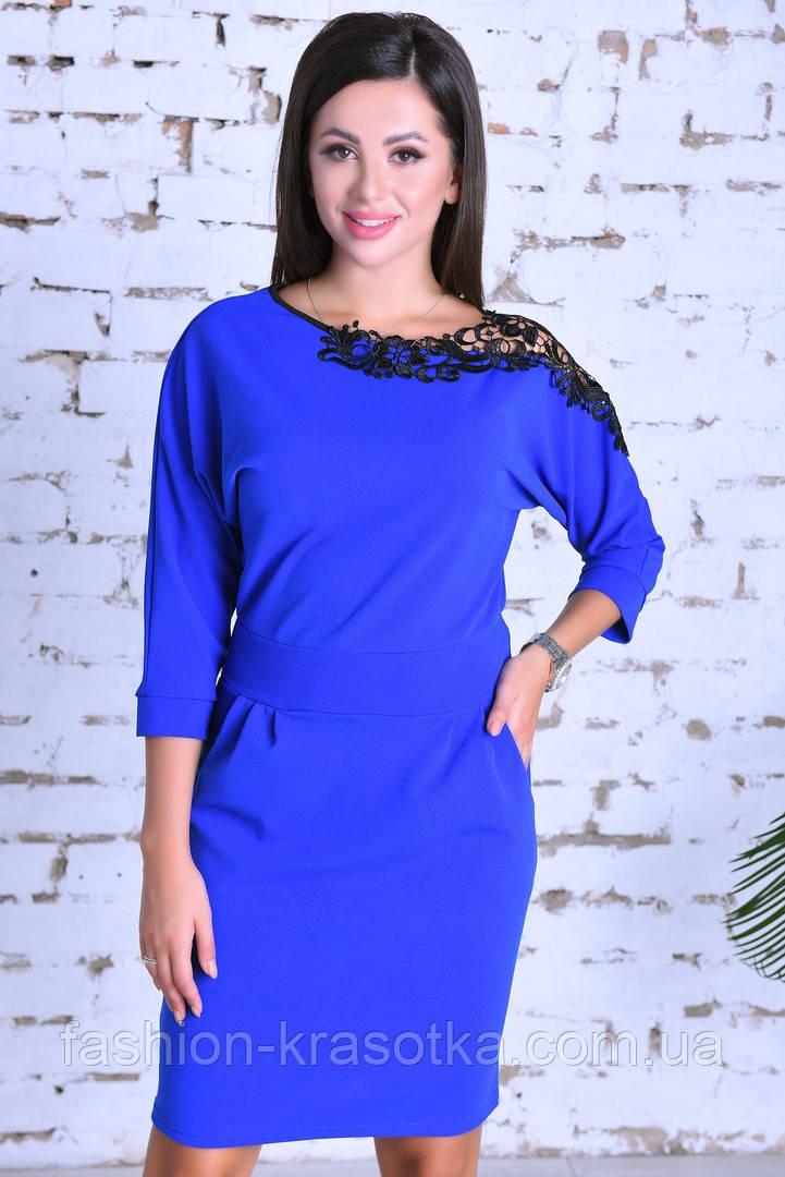 Нарядное женское платье,ткань креп-дайвинг+кружево,размеры :44,46,48.