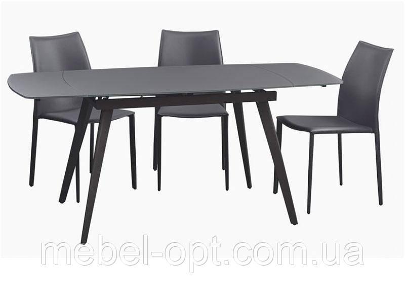 Стол раскладной Largo Matt Grey серое стекло 1200(+600)х800х760