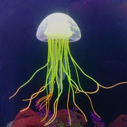 Силиконовая желтая медуза в аквариум - 5,9см