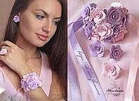 """""""Сиреневая мечта"""" комплект авторских украшений с розами"""