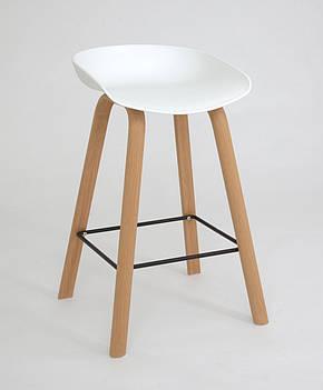 Барний стілець з пластиковим сидінням та ніжками під дерево, фото 2