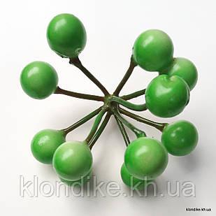 Ягодки, пенопласт, d - 10 мм, Цвет: Зелёный (11 ягод)