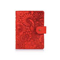 """Красный кожаный картхолдер на кобурном винте с авторским художественным тиснением """"Mehendi Art"""", фото 1"""