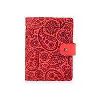 """Красный кожаный картхолдер на кобурном винте с авторским художественным тиснением """"Buta Art"""", фото 1"""