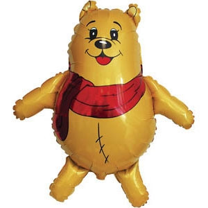 Фольгированный шар Медведь в шарфе 38см х 37см Желтый