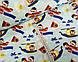 Хлопковая ткань мишки на вертолетах и самолетах на голубом, фото 2