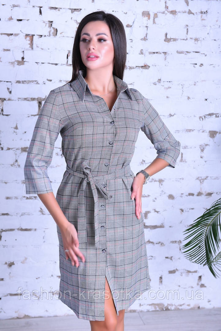 Нарядное женское платье ,ткань клетка-коттон Турция ,размеры:44,46,48,50.