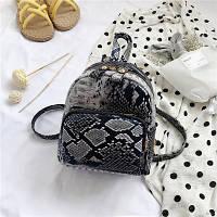 Женский небольшой рюкзачок Змеиный принт серый, фото 1