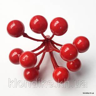 Ягодки, пенопласт, d - 10 мм, Цвет: Красный (11 ягод)