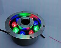 Фонарь светодиодный подводный  RGB 9 Вт IP68 с пультом дистанционного управления для фонтана и бассейна