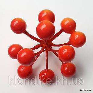 Ягодки, пенопласт, d - 10 мм, Цвет: Оранжевый (11 ягод)