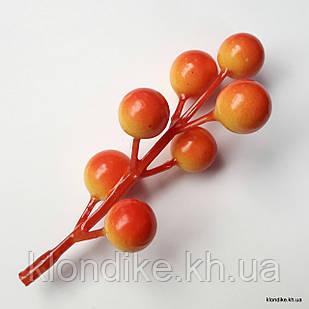 Веточка с ягодками, пенопласт, d - 12 мм, Цвет: Оранжевый (7 ягод)