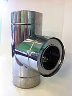 Тройник из нержавейки в нержавейке 0,6 мм+0,6 мм Ø160/100 (сэндвич), фото 1