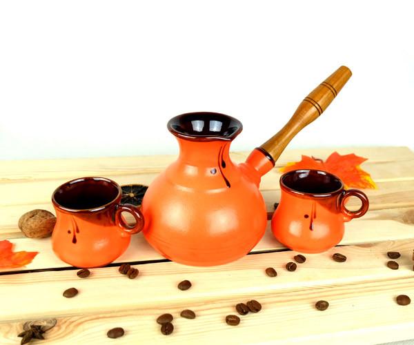 Турка Оранжевая керамическая с деревянной ручкой и чашками 350 мл