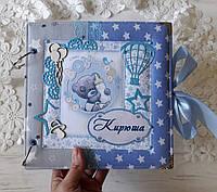 Альбом для сыночка, первый альбом, альбом для мальчика, фотоальбом 21 на 21 см, фотоальбом Тедди