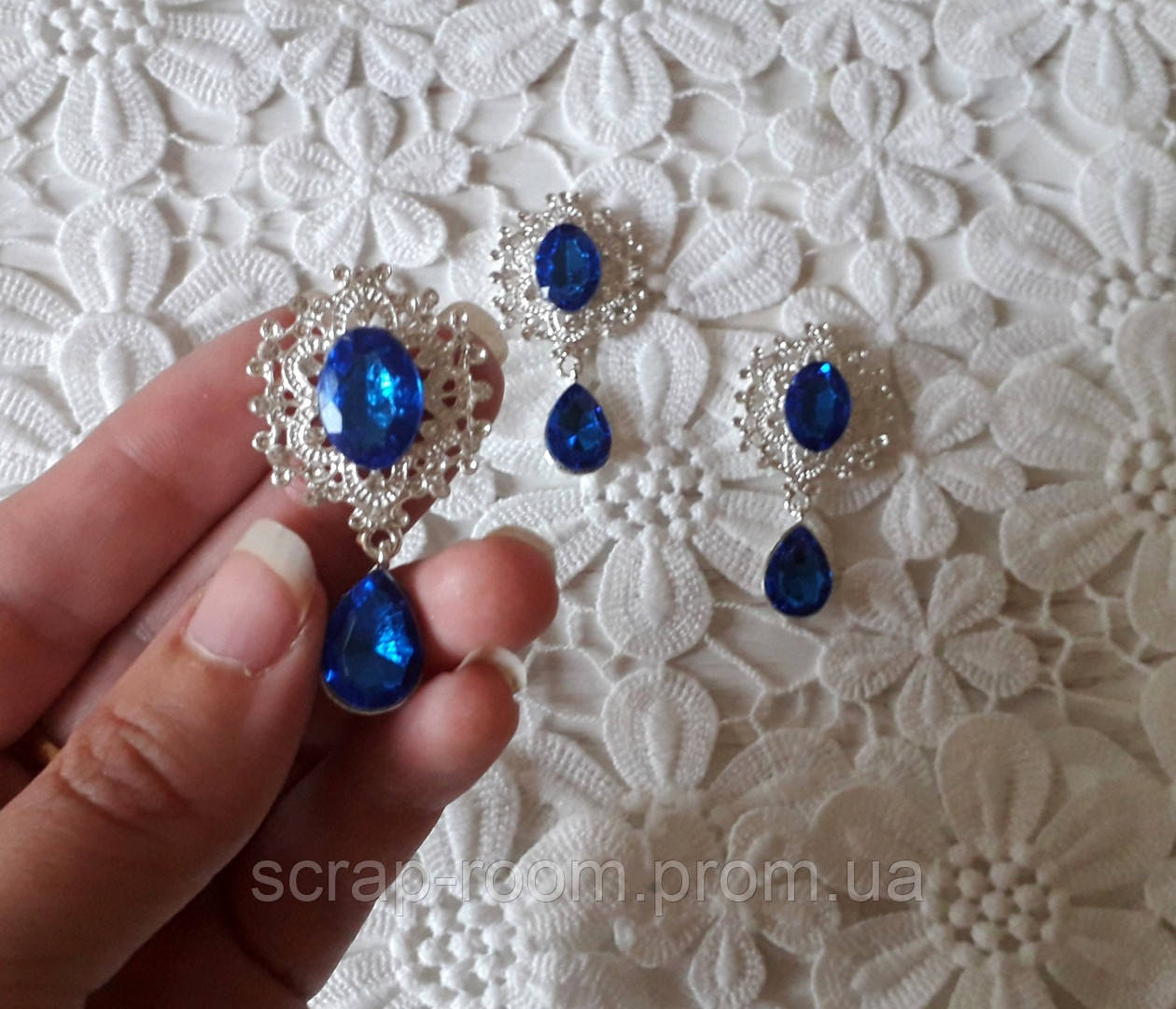 Брошь со стразами, брошь с синим камнем, брошь с подвеской, брошь свадебная, размер 25*45 мм, цена за шт