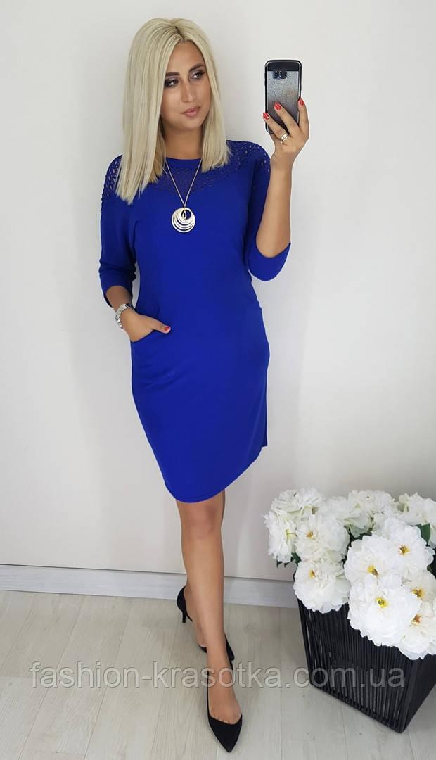Женское нарядное платье,ткань  креп дайвинг+макраме,размеры:48,50,52,54,56.
