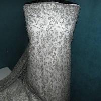 Гіпюр розшитий перлами, пайеткой, бисером_серый