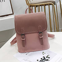 Женский рюкзак с застежками розовый (пудра)