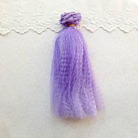 Волосы для кукол мини гофре, омбре чароит - 15 см