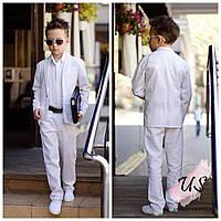 Льняной классический костюм-тройка для мальчика. 3 цвета!