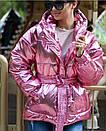 Куртка из плащевки фольги (металлик) с капюшоном и поясом, фото 2