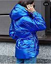 Куртка из плащевки фольги (металлик) с капюшоном и поясом, фото 3