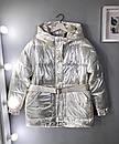 Куртка из плащевки фольги (металлик) с капюшоном и поясом, фото 4