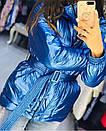 Куртка из плащевки фольги (металлик) с капюшоном и поясом, фото 5