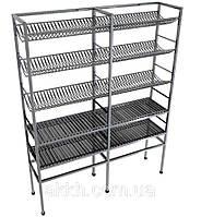 Стеллаж для сушки посуды 1200*300*1800 2 секции по  5 полок