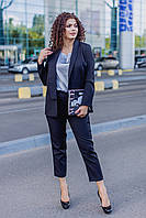 Женский костюм тройка с укороченными брюками Костюмка и шелк Размер 48 50 52 54 56 58 60 62 В наличии 3 цвета, фото 1