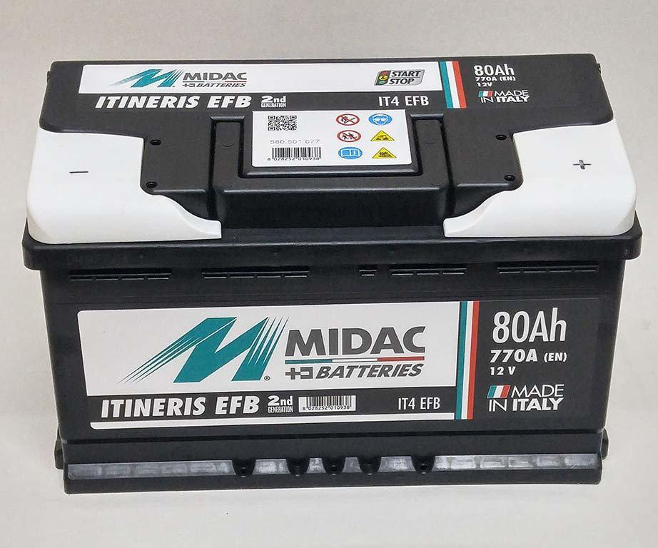 АККУМУЛЯТОР 6СТ-80A MIDAC ITINERIS EFB START STOP, 12V, 80AH, R МИДАК ИТИНЕРИС, 12В, 80АЧ, EN770А