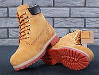 Ботинки Timberland мужские, рыжие, нубук, мех шерстяной, в стиле Тимберленд, код KD-11084.