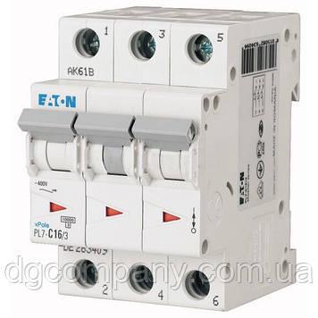 Автомат Eaton-Motller PL4-C 16/3 тип С, 4,5кА