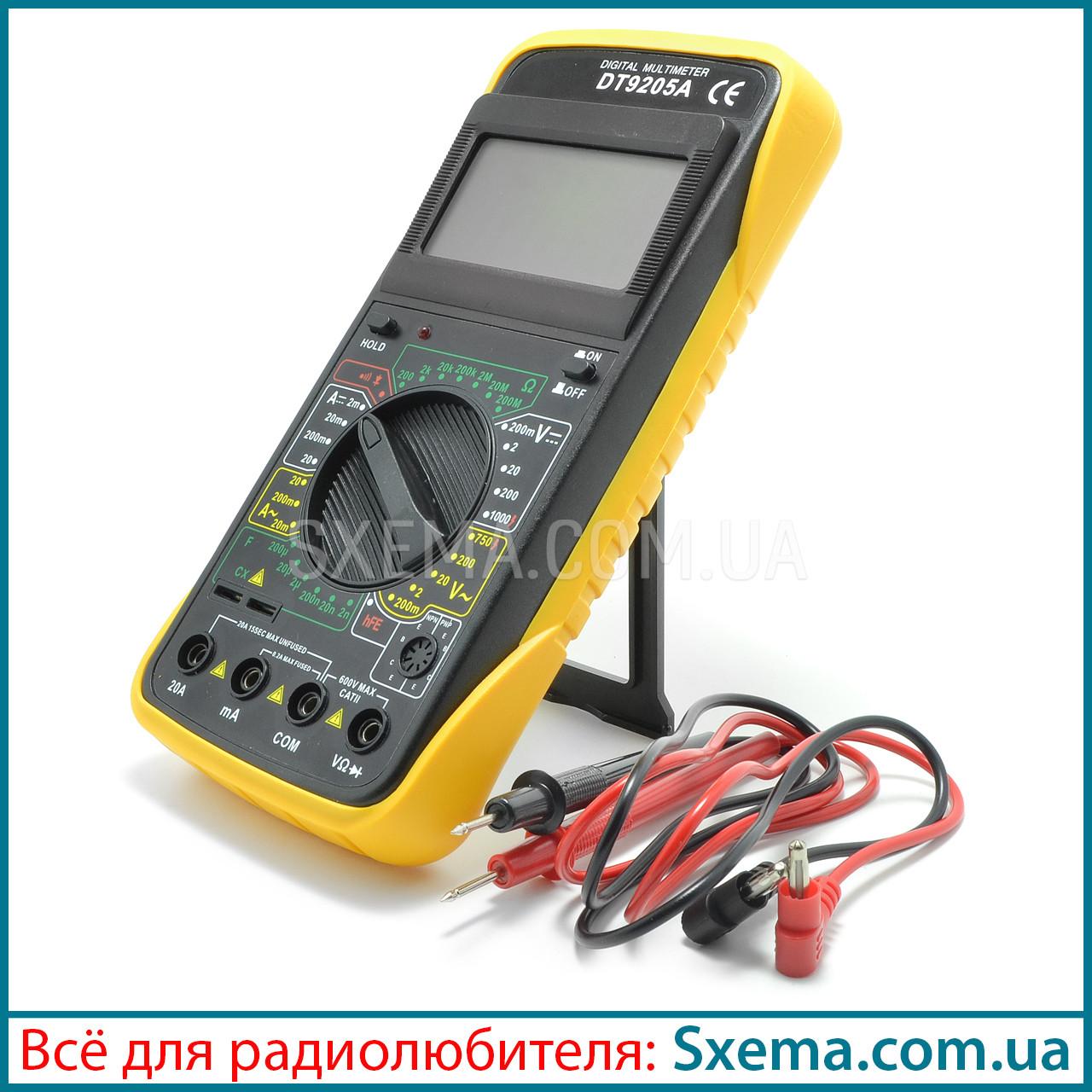 Мультиметр цифровой DT9205A с автовыключением, прозвонка, амперметр, вольтметр