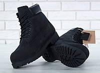 Ботинки Timberland мужские, черные, в стиле Тимберленд, нубук, мех шерстяной, код KD-11332