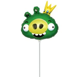 Фольгированный шар Angry Birds Король свиней 28см х 31см Зеленый