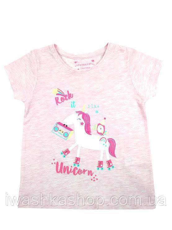 Розовая футболка с единорогом для девочки 3 - 4 лет, р. 104, Primark