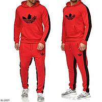 Мужской спортивный костюм красный с черными вставками 46 48 50 52