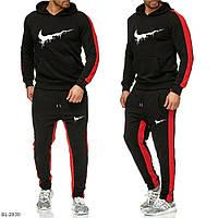 Мужской спортивный костюм черный с красными вставками 46 48 50 52