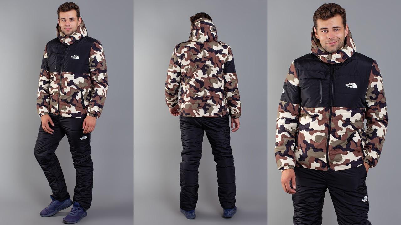 """Теплый лыжный костюм мужской черный камуфляж """"The North Face"""" 46 48 50 52р."""