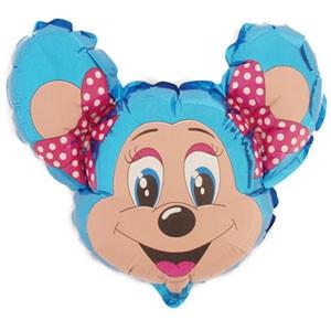 Фольгированный шар Мышка с бантом 29см х 37см Голубой