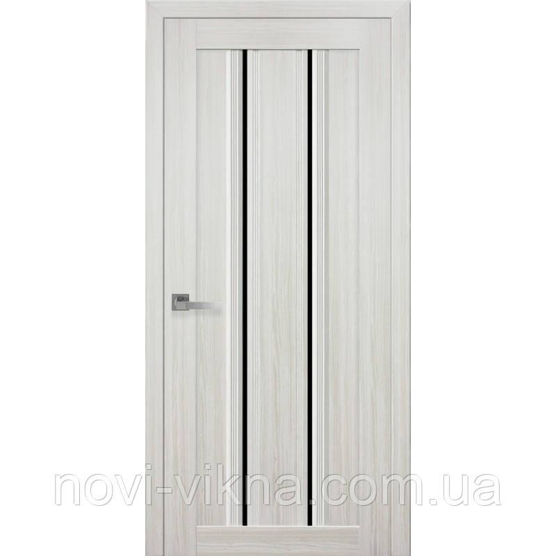 Дверь межкомнатная Верона С1 жемчуг белый 700 мм со стеклом BLK (черное).